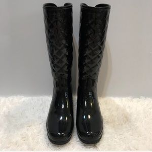Hunter Refined Gloss Quilted Tall Black Boots